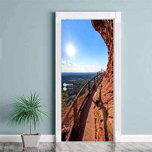 BXZGDJY deurbehang, houten brug, 3D-deursticker-uitgang, decoratie, deur-wand-papier-wandfoto, Pvc-waterdichte zelfklevende schaal en stok-deur, wandbehang, kunstdecoratieve wand-sticker 95X215CM