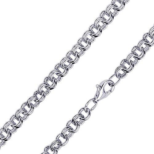 MATERIA 925 Silberkette Damen Herren breit - 60cm Zwillings Ankerkette Halskette 4mm rhodiniert in Etui K71-60 cm