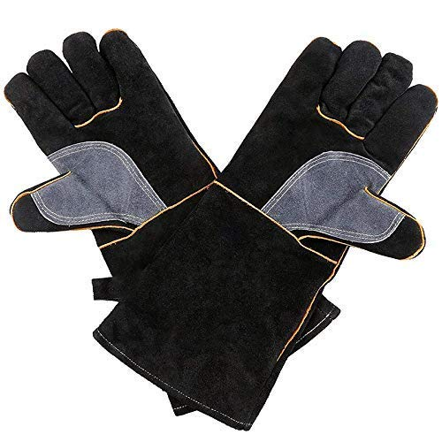 WLDQ Extrem Hitzebeständige Handschuhe Leder Mit Nähten, Handschuhe Perfekt Für Kamin, Herd, Ofen, Grill, Schweißen, Topflappen,