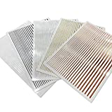 5 Flexible Stripes Sticker - Selbstklebende elastische Streifen in Gold, Silber, Weiss, Schwarz, Rose Gold