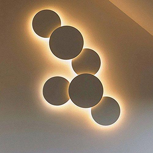 YU-K Moderne wandlamp, aluminium wandlampen, ronde led, perfect voor een bar, restaurant en koffie, winkel, woonkamer, slaapkamer, hal, balkon, wit licht, kleine 4 W