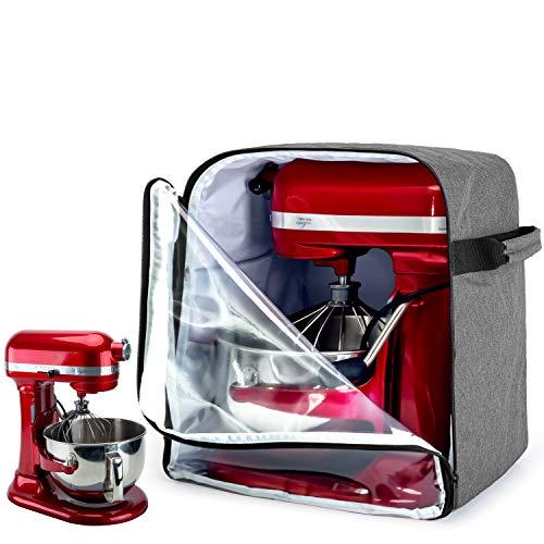Luxja Tragetasche für Kitchenaid Küchenmaschine, Abdeckhaube mit Boden für Standmixer, Staubdichte Schutzhülle für 5,7- und 7,6 Liter Kitchen Aid Mischer(Kein Zubehör enthalten), Grau