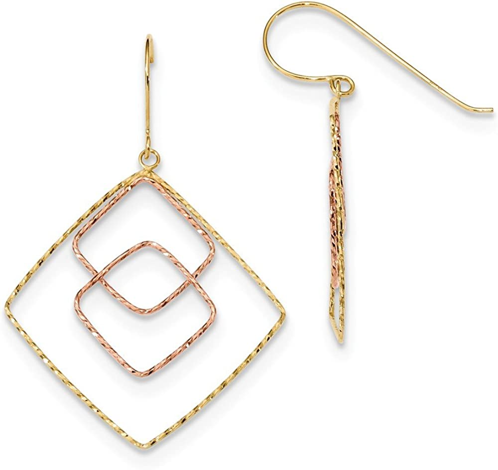 14k Two-tone Gold Yellow And Rose Graduated Square Shepherd Hoop Earrings (L-41 mm, W-29 mm)