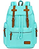 BLUBOON Women Canvas Laptop Backpack Leather Trim Girls Casual Bookbag Ladies Travel Rucksack (Light Blue)