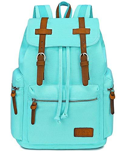 BLUBOON Women Canvas Laptop Backpack Leather Trim Girls Casual Bookbag...