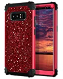 Hekodonk Compatible Galaxy Note 8 Case, Luxury Stars Sparkle Glitter Shiny Heavy Duty Shockproof Full-Body Protective High Impact Hybrid Cover for Samsung Galaxy Note 8(Bling Red)