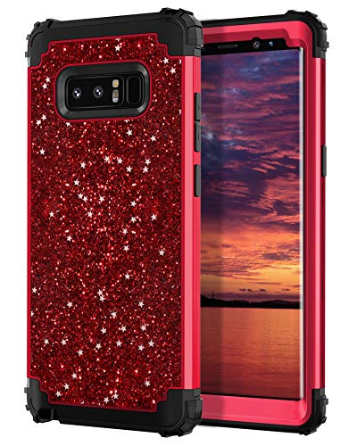 Hekodonk Compatible Galaxy Note 8 Case, Luxury Stars Sparkle Glitter Shiny Heavy Duty Shockproof Full-Body Protective High Impact Armor Hybrid Cover for Samsung Galaxy Note 8(Bling Red)