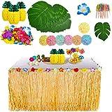 YQing 119 Stück Hawaii Luau Tischröcke Set, Hawaiian Hibiscus Gras Tisch Rock Tropische mit Hawaiianische Blüten, Kuchendeckel und 3D Fruchtstrohhalme für BBQ Tropischen Garten Tiki Party Dekoration
