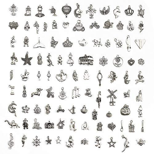 Jolintek 100 Pezzi Accessori Pendenti in Argento Tibetano, Ciondoli per Creazione di Gioielli Misti Stili Retrò Argento Ciondolo Charm per Gioielli Fai da Te per Bracciale Creazione di Gioielli