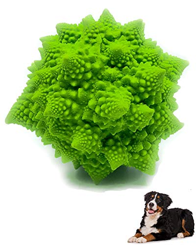 XL Squeaky Dog Toy - for Large & Medium Dogs - Sensory Broccoli - 100% Natural Rubber (Latex) - Complies with Same Safety Standards as Kids' Toys (Green)