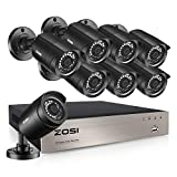 ZOSI H.265+ 8CH 5MP Lite Home Security Camera System Outdoor Indoor,5MP Lite CCTV DVR 8 Channel, 8pcs 1080P 1920TVL Surveillance Bullet Cameras,80ft Night Vision,Motion Alerts,Remote Access(No HDD)