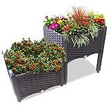 Ominihome Jardinera de plástico con patas en diseño de ratán, fácil montaje, perfecto para flores, hierbas y verduras (2 cajas)