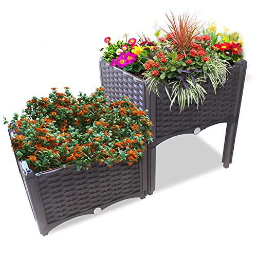 Ominihome Fioriera rialzata da giardino, in plastica, con piedini in rattan, facile da montare, perfetta per fiori e erbe aromatiche (2 scatole)