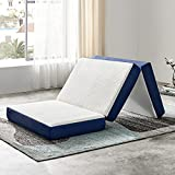 JINGWEI Folding Mattress, Tri-fold Memory Foam Mattress Topper with Washable Cover, 4-Inch, Full Size, Play Mat, Foldable Bed, Guest beds, Camp Portable Bed,52' 73' 4'
