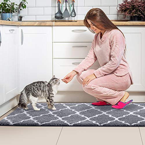 KMAT Kitchen Rugs and Mats [2 PCS] Super Absorbent Microfiber Kitchen Mat Non Slip Machine Washable Runner Carpets for Floor, Kitchen, Bathroom, Sink, Office, Laundry,17.3