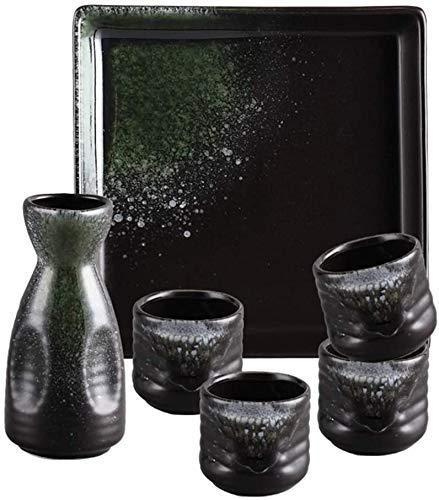 Mnjin Ensemble de Tasses à saké Exquis, Ensemble de saké 6 pièces, Ensemble de Tasses à saké glaçage Lisse Vert Ice Crack avec Plateau, Tasses en céramique de Texture pittoresque, pour Froid/cha
