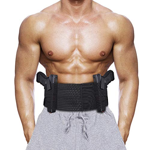 Accmor Belly Band Holster for Concealed Carry, Elastic Breathable Waistband Gun Holsters for Women Men, Comfortable Concealed Carry Belly Band Fits up to 55' Belly, Right and Left Hand Draw