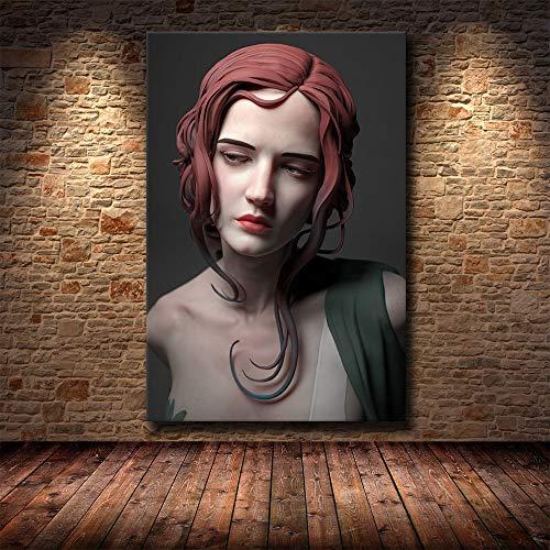 Puzzle 1000 piezas Mujer sexy arte escultura creativa pintura retrato abstracto pintura artística puzzle 1000 piezas adultos Gran ocio vacacional, juegos interactivos familiares50x75cm(20x30inch)