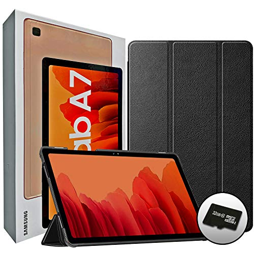 """2020 Samsung Galaxy Tab A7 10.4"""" Inch 32 GB Wi-Fi Android 10 Touchscreen International Tablet (Gold) Bundle – Slim Trifold Hard Shell Case and 32GB Micro SD Card"""