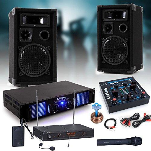 etc-shop PA Party Musikanlage Boxen 2400 Watt Endstufe USB MP3 Mixer Funkmikrofon DJ-Party 3