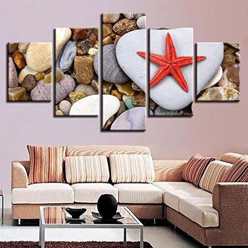 Huisdecoratie, woonkamer, muurkunst, schilderijen met 5 zeesterren en steen, modulair, HD-opdruk, moderne fotolijst L-30x40 30x60 30x80cm Frameloos.