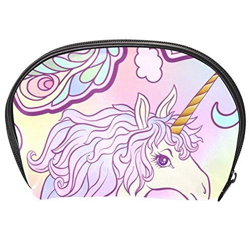 Bennigiry Trousse de toilette multifonction avec fermeture Éclair Motif licorne Crinière Papillon Arc-en-ciel Étoile et cœur