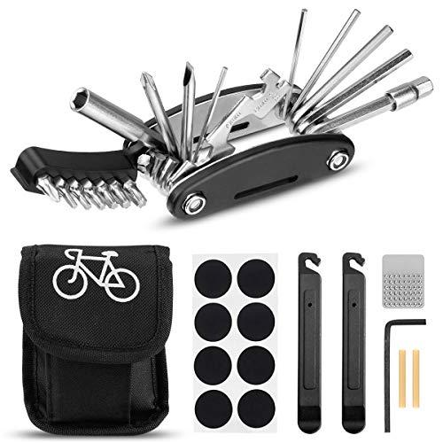 Migimi Fahrrad-Multitool, Fahrrad Werkzeug Tool 20 in 1 Multifunktions-Reparatursatz Fahrradwerkzeug Set für Fahrrad Reparatur, Werkzeugset Fahrrad mit Tasche, Selbstklebendes Fahrradflicken usw