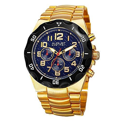 AUGUST STEINER Herren Analog Quarz Uhr mit Legierung Armband AS8161YGBU