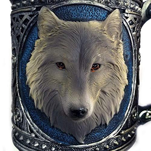 Erjialiu 3D Wolf Koning Patroon Drinkbekers Hars RVS Wolf Bekers Koffie Thee Bier Mok Dier Melk Mok 450 Ml Gift