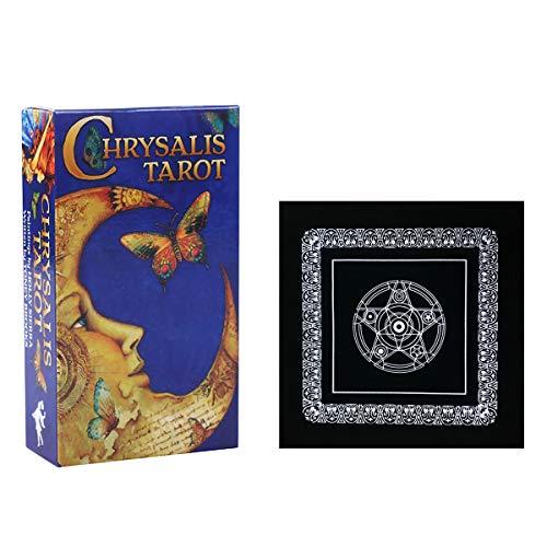 Chrysalis Tarot-Karten Oracles Englisch Divination Deck Brettspiele mit schwarzem Plüsch Altar Tabellen-Tuch, Pentagram Retro Tarot Tuch für Familien-Geschenk-Partei-Spielzeug