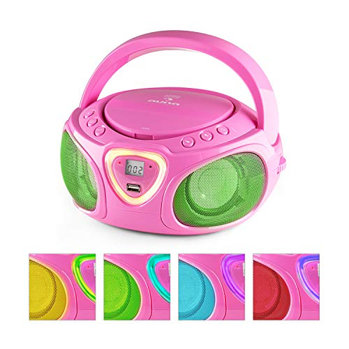auna Roadie KIDS Portable Boombox with CD Player and Radio, LED Light, AM/FM Radio, Bluetooth, MP3/CD Player, Aux-Input, Headphone Jack, Pink