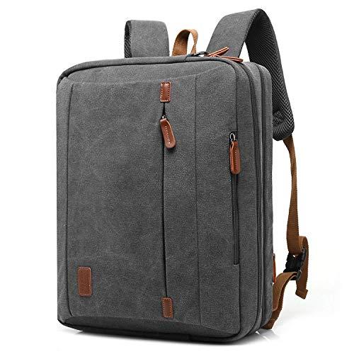CoolBELL umwandelbar Laptop Tasche 15.6 Zoll/Rucksack Business Messenger Bag Mehrzweck Aktentasche Umhängetasche Oxford Backpack für Laptop/MacBook/Herren/Damen(Canvas Grau)