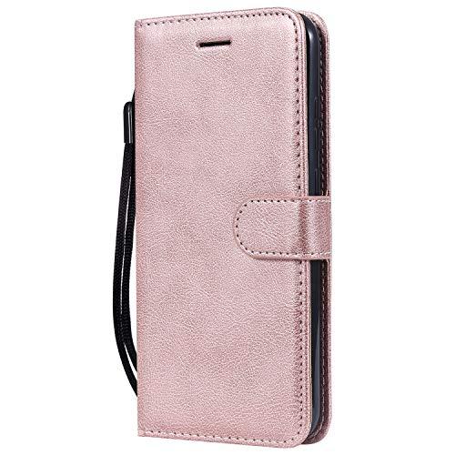 Docrax Handyhülle Lederhülle für Nokia 8.1 2018, Flip Case Schutzhülle Hülle mit Standfunktion Kartenfach Magnet Brieftasche für Nokia8.1 - DOKTU100264 Rosa Gold