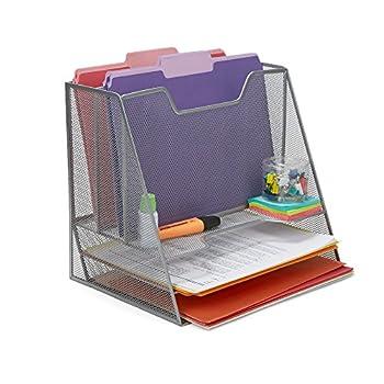 Mind Reader MESHBOX5-SIL 5 Compartment Mesh Desk Storage Organizer Silver