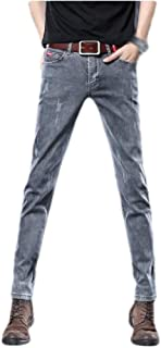 MogogNMen Relaxed Fit Washed Pockets Slim-Fit Straight Stylish Denim Pants