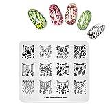 Alexnailart Nail Art Stamping Plate plantilla tema de Navidad calcetines Bell patrón DIY imagen sellos placas manicura impresión herramienta