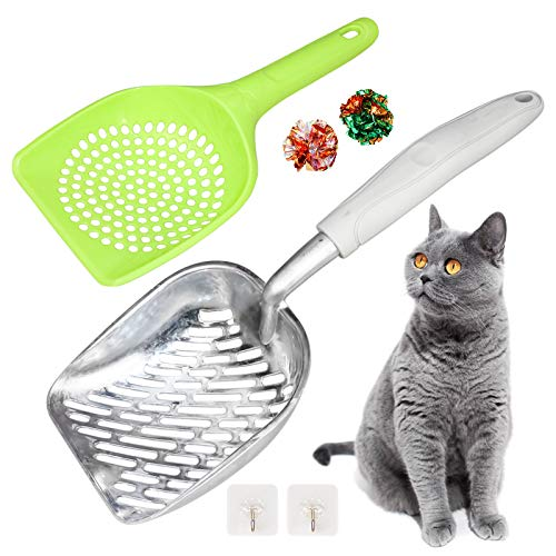 Cat Litter ScoopKitty Metal ScooperSilicone Long Handle Aluminum Alloy Sifter Cat Deep Shove with Convenient Hanging Hole Pet Litter Scoop Metal with Mesh for Pet Owner Easy Clean Tool Set Gray