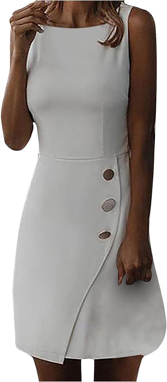 JIOAKFA Womens Work Business Dress Elegant Slim Sleeveless Cocktail Bodycon O-Neck Knee-Length Dress