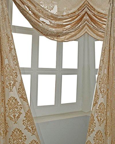 "hand made Faus Silk Burnt Out Velvet Victorian Design 52"" W X 216"" Long Window Scarf,Window Swag (Beige)"