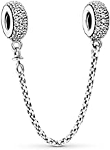 PANDORA Pavé Inspiration Safety Chain Charm, Sterling Silver, Clear Cubic Zirconia, 2 IN
