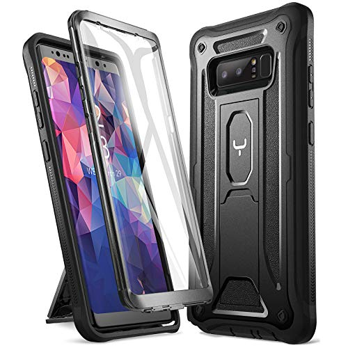 YOUMAKER Kickstand Case for Galaxy Note 8, Full Body with Built-in Screen Protector Heavy Duty Protection Shockproof Rugged Cover for Samsung Galaxy Note 8 6.3 Inch - Black