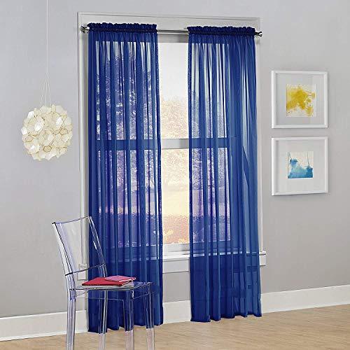 "Decotex Set of 2 Sheer Voile Transparent Window Panel Curtain Drapes (54"" W X 84"" L, Royal Blue)"