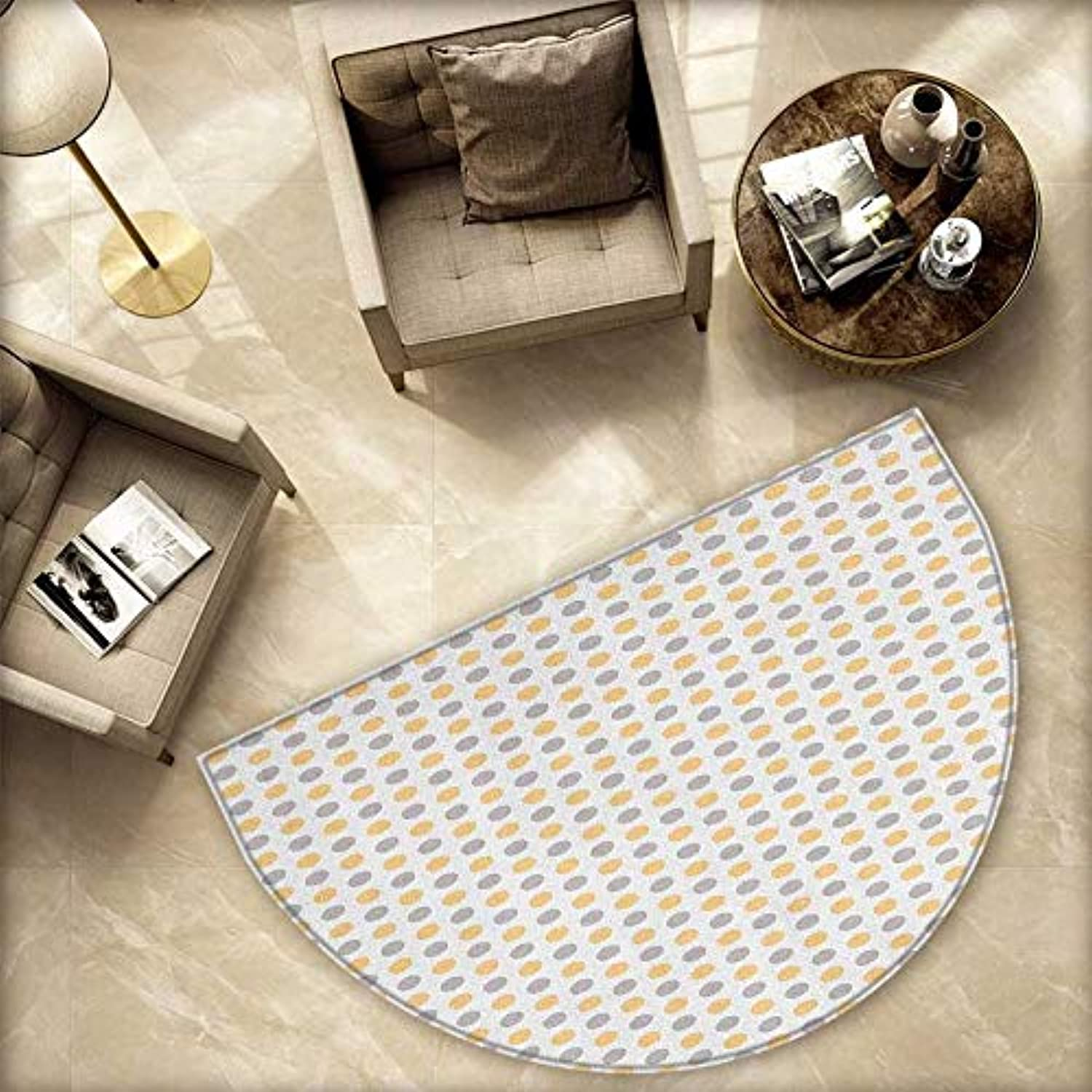 Vintage Semicircle Doormat bluee and orange Dots White Background Classic Shabby colord Pattern Halfmoon doormats H 78.7  xD 118.1  orange White Cadet bluee