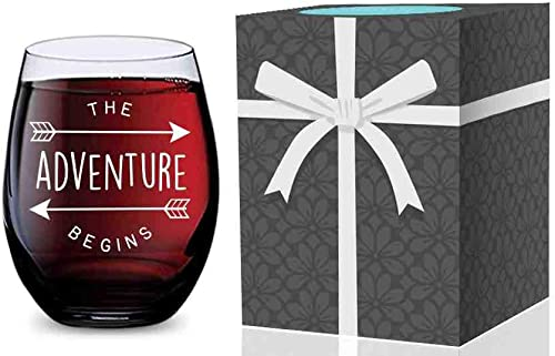 discount Stemless Wine Glass for Weddings, Graduation, New Jobs, wholesale New Homes, and New Babies popular (Adventure Begins) Made of Unbreakable Tritan Plastic and Dishwasher Safe - 16 ounces online