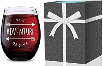 Stemless Wine Glass for Weddings, Graduation, New Jobs, New Homes, and New Babies (Adventure Begins) Made of Unbreakable Tritan Plastic and Dishwasher Safe - 16 ounces