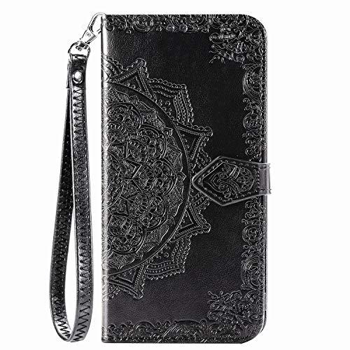Unichthy Alcatel 1S 2020 Hülle, stoßfest PU Leder Flip Wallet Phone Skin Mandala Prägung Folio Magnetic Schutzhülle Bumper Stand Kartenfächer mit Gurt für Alcatel 1S 2020 Schwarz