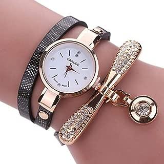 JIANGNIAU Watches Fashion Women Casual Bracelet Leather Band Watch(Beige) (Color : Black)