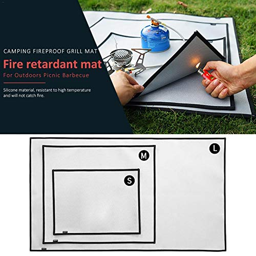 Grill And Fire Pit Mat, Outdoor Camping Fireproof Cloth Barbecue Heat Insulation Pad High Temperature Resistant Silicone Coating Fiberglass Fire Blanket Reusable Barbecue BBQ Mat