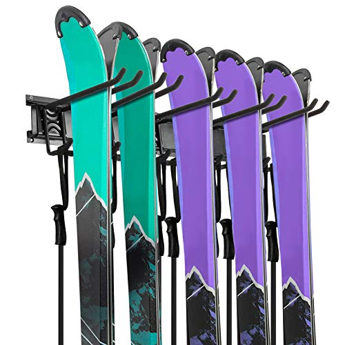 Ski Wall Rack, 5 Pairs of Snowboard Wall Storage Rack, Home and Garage Skiing Storage Rack Wall Mount, Adjustable Rubber-Coated Hooks Hold up to 500lbs