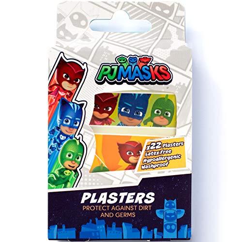 PJ MASKS Pflasters / x22 Streifen / 4 Größen / Latexfrei / Hypoallergen / Waschfest / Atmungsaktiv / CE-zertifiziert